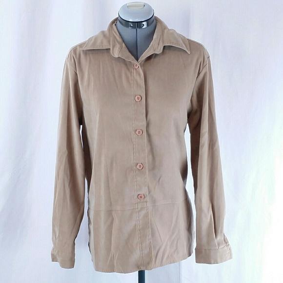 713b8186 croft & barrow Shirts   Croft Barrow Womens Tan Button Down Dress ...